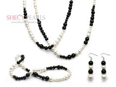 white and black pearl jewelry set