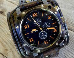 Leather Watch Cuff Brown Men's watch by CuckooNestArtStudio