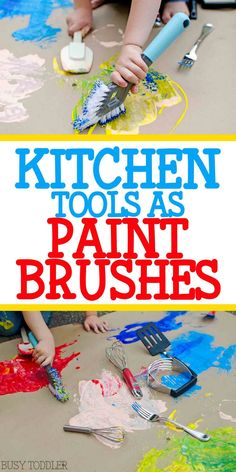 Kitchen Tools as Paint Brushes: a quick and easy process art activity for toddlers and preschoolers