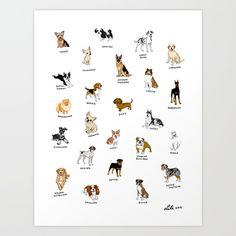 Dog breeds! Art Print