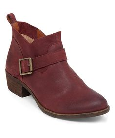Take a look at this Lucky Brand Ruby Wine Boomer Leather Bootie today!