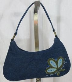 DENIM BLUE JEAN PURSE WITH BEADED FLOWER image