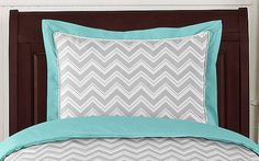 Buy Turquoise and Gray Chevron Zig Zag Pillow Sham from Sweet Jojo Designs and add modern fashion to your bedroom. Free Shipping, Great Service!