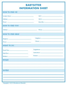 babysitting information sheets