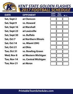 2017 Kent State Golden Flashes Football Schedule