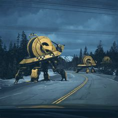 The dark, atmospheric and cinematic science fiction themed paintings of Simon Stålenhag, a freelance digital artist based in Sweden. Arte Sci Fi, Sci Fi Art, Art Science Fiction, Arte Cyberpunk, Futuristic Art, Retro Futurism, Sci Fi Fantasy, Les Oeuvres, Illustration