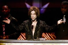 """""""The Artist"""" formerly known as Prince gives his acceptance speech after being named Male Artist of the Decade at the 14th annual Soul Train Music Awards March 4. - RTXJKPE"""