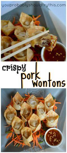 Crispy Pork Wontons – you probably should try this – Apocalypse Now And Then Pork Wonton Recipe, Wonton Recipes, Appetizer Recipes, Appetizers, Crispy Wonton, Crispy Pork, Fried Pork, Asian Recipes, Healthy Recipes
