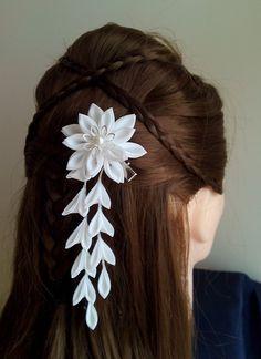 White with Pearl Fabric Flower Hair Hana Tsumami Kanzashi, $25.00.