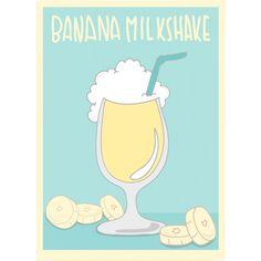 BANANA MILKSHAKE /バナナミルクシェイク・フルーツ・アメカジ・カジュアル・シンプル・イラスト・music・音楽・アート・art・可愛い・女性・絵・ロゴ・デザインTシャツ