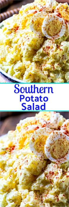 Southern Potato Salad is super creamy with a blend of mayonnaise and mustard, hard-boiled eggs, sweet onion, sweet pickle relish, and celery. It is a potluck must and the only recipe for potato salad you need! Southern Potato Salad, Southern Dishes, Soul Food Recipes, Healthy Southern Recipes, Southern Coleslaw, Simple Recipes, Soul Food Meals, Southern Meals, Southern Comfort