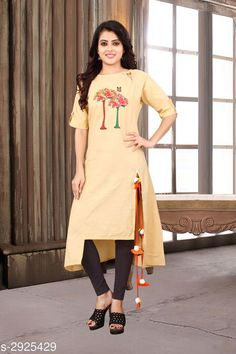 Kurtis & Kurtas Women's Printed Yellow Cotton Kurti Fabric: Cotton Sleeves:  Sleeves Are Included  Size: M - 38 in L - 40 in XL - 42 in Length: Up To 48 in Type: Stitched Description: It Has 1 Piece Of Women's Kurtis Work: Printed Country of Origin: India Sizes Available: M, L, XL, XXL   Catalog Rating: ★4 (488)  Catalog Name: Women'S Printed Cotton Kurtis CatalogID_398421 C74-SC1001 Code: 053-2925429-948