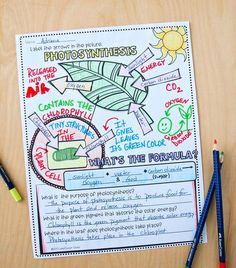 synthesis Interactive notebook This doodle notes es with answer key - Prime Photosynthesis Worksheet High School - You might choose to include or remove the worksheet utilizing some basic steps that I'm going to share wi. Biology Lessons, Science Biology, Teaching Biology, Science Lessons, Science Education, Life Science, Forensic Science, Higher Education, Computer Science