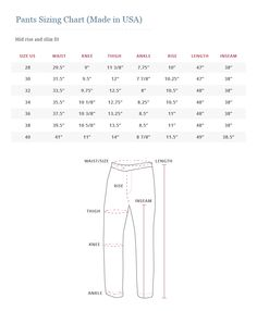Howard Yount Made in America pants size chart