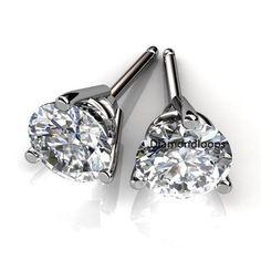 4ct Certified White Moissanite 3 G Beautiful Stud Earring 10k Gold