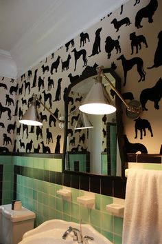 Very cool wall paper for a dog space