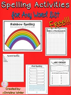 5 engaging spelling activities to practice any spelling or sight word list FREE! 5 engaging spelling activities to practice any spelling or sight word list Spelling Word Activities, Spelling Word Practice, Spelling Centers, First Grade Spelling, Sight Word Centers, Word Work Activities, First Grade Reading, Spelling Words, Spelling Ideas