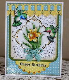 Inspired By Stamps: Daffodils And Hummingbirds Birthday Card