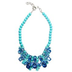 3cd170d32b8  SPRINGSALE Luxe Turquoise Matte Spray   Crystal Necklace  TJDesigns