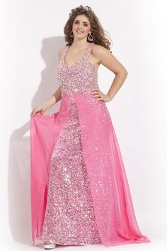 Wholesale Plus Size Prom Dresses - Buy Stunning Plus Size Prom Dresses Sequin Fabric with Slit Chiffon Overlay Skirt And Colorful Crystal Embellished V-Neck Cut Back Plus Gowns, $145.17   DHgate