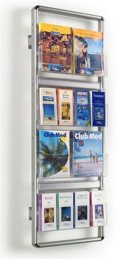 """19.5"""" Literature Holder for Wall, 16 Adjustable Pockets, Removable Dividers - Silver"""