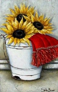✿Bouquet & Full Of Flower Basket✿ Stella Bruwer Art Floral, Deco Floral, Decoupage Vintage, Tole Painting, Painting & Drawing, Sunflowers And Daisies, Sunflower Art, Country Art, Learn To Paint