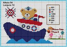 Urso Marinheiro Ponto Cruz Cross Stitch Baby, Cross Stitch Patterns, Knitting Patterns, C2c, Baby Teddy Bear, Pixel Art, Baby Toys, Baby Knitting, Embroidery Stitches