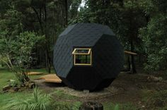 Polyhedron Habitable is a charming tiny relaxation space from Colombian architect Manuel Villa located in Bogota, the capital city of Colombia. Garden Escape, Backyard Playhouse, Modern Playhouse, Compact House, Unique Architecture, Garden Office, Inspiration For Kids, Back To Nature, Play Houses