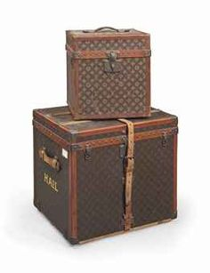 TWO LOUIS VUITTON TRAVELLING CASES 20TH CENTURY Each with painted monogram and HAIL to each side, serial numbers 060336 and 075686 21¾ in. (55 cm.) high, 24 in. (61 cm.) wide, 18¾ in. (47.5 cm.) deep, the larger (2) Louis Vuitton Trunk, Louis Vuitton Luggage, Louis Vuitton Speedy 30, Monogram Painting, Painted Monogram, Antique Vanity, Vintage Luggage, Fine Art Auctions, Marc Jacobs