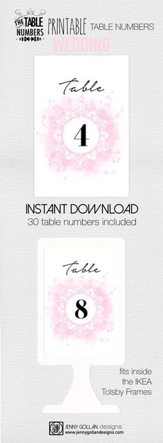 Instant download 30 table numbers for IKEA Tolsby frames. Original design 'Pink 'Ink'. Only $4.95 for the entire set!