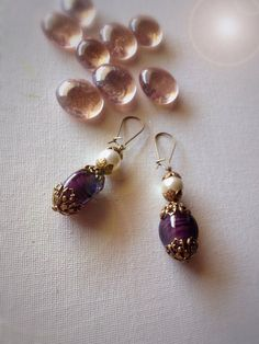elegant purple and white statement earrings by EmeraldsDreams, $21.00