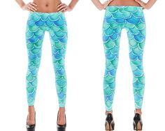 Mermaid Leggings for Women Exclusive Blue Green Scallop Designer Leggings  https://onesassysister.com/collections/womens-leggings/products/designer-leggings-for-women-exclusive-mermaid-leggings