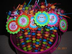 15 Owl Bird Birthday Candy Treat Bags Stix Tubes Hang Tags Personalized Birthday Party Favors Girls Baby Shower Pink Aqua. $12.95, via Etsy.
