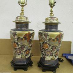 Porcelain Oriental Urn Vase Lamp Pair Lamps Vintage Peacock Bird  SALE