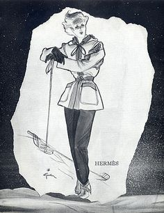 Hermès (Couture) 1945 Back Jacques Maraut Sport Skiing Fashion Illustration
