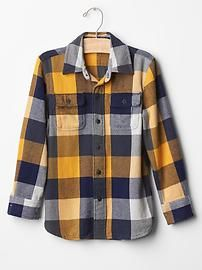 Checkered herringbone flannel shirt