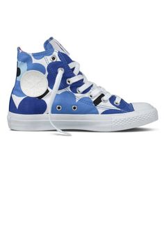 While Warhol was perfecting his Flowers series, Finnish textile designer Maija Isola went against Marimekko's strict no-florals policy and whipped up the Unikko poppy design that has since become the company's most recognizable fabric. The iconic print adorns the equally iconic Chuck Taylor All Star, in both navy and yellow, as part of the latest Converse Loves Marimekko collaboration, now in its third season ...Chuck Taylor Marimekko shoes, $90; @converse.com