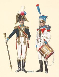 Duchy of Warsaw Drum Major & Drummer Tambur-major i dobosz. Empire, War Drums, Drum Major, Royal Marines, Napoleonic Wars, Military Art, Warsaw, Reggio, Army