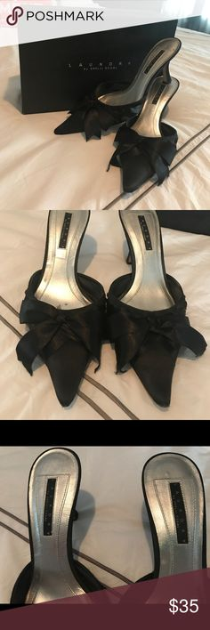 """Laundry by Shelli Segal Heels Black Satin Slip on Heels with Ribbon detail, pointed toe heel, minor signs of wear of point of shoe and the edge of one ribbon.  Great pair of heels for that little black dress!  Heel height:   2 1/2"""" Original box Included, smoke free home Laundry By Shelli Segal Shoes Heels"""