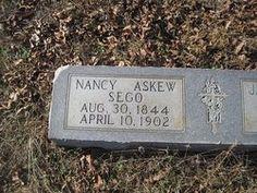 Nancy Askew Sego tombstone in Pinehurst Georgia (Mt. Olive Cemetary)