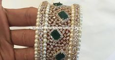 Take a look at this stunning bracelet from the diamond wedding collection. The diamond bangles set from Mangatrai jewellers set in 18 k gold and made with the best quality of diamonds emeralds and pearls