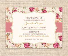 Vintage Rose Invitation - Rose Garden Bridal Shower or Baby Shower Invitation - DIY Printable Vintage Invitation. $15.00, via Etsy.
