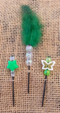 Green Beaded Push Pin Set by GrlFridayProductions on Etsy, $5.00