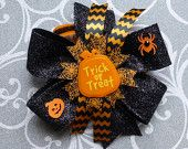 Halloween, Trick or Treat. Hair bow, hair bows, hairbow, hairbows, hair accessories, hair accessory, Bowberry Creations, Boutique bow, bowtique bow, twisted bow, loopy bow, fluffy bow, cheer bow, baptism bow. Beautiful handmade bows. Custom orders welcome. www.etsy.com/shop/bowberrycreations www.facebook.com/bowberrycreations