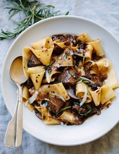 Pappardelle pasta with portobello mushroom sauce