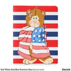 Red White And Blue Patriotic Bear Extra Large Moleskine Notebook