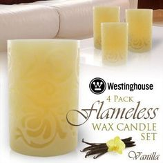 Westinghouse 4 pc Flameless Wax Candle Set - Vanilla Scent by Westinghouse. $39.99. The Westinghouse 4-Piece Flameless Wax Candle Set features four flameless LED candles that are powered by battery and made from real wax. The glow and flicker of each candle's LED light imitates the look of a real fire-burning wick without the flame or hazard of fire, making them beautiful, worry-free decorations. Safe for placing near decorations, dried, flowers, and curtains, the Wes...