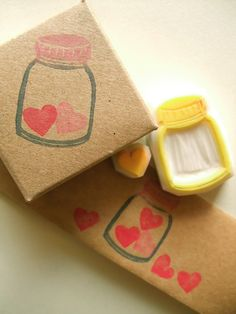 LOVE hand carved rubber stamp. handmade rubber stamp. love heart. bottle. set of 2. no2. $9.00, via Etsy.