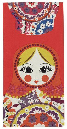 Russian Doll print tea towel