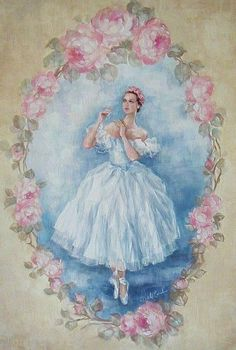 """The Ballerina"" Limited Ed Canvas Giclee Print Decoupage Vintage, Decoupage Paper, Vintage Diy, Vintage Cards, Vintage Paper, Vintage Pictures, Vintage Images, Art Amour, Vintage Ballerina"